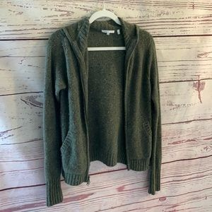 Vince 100% cashmere full-zip hooded cardigan